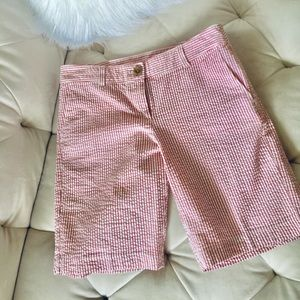 Ann Taylor LOFT Light Red / White Striped Shorts